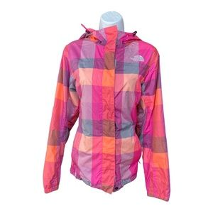 North Face plaid wind breaker pink and gray medium